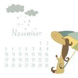 Calendar för November 2014. År av hästen. Arkivfoton