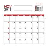Calendar för November 2018 Arkivfoto