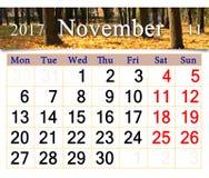 Calendar för November 2017 med gula sidor parkerar in Royaltyfri Foto