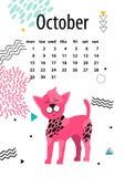 Calendar för Oktober 2018 med den kines krönade hunden Arkivbilder