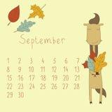 Calendar för September 2014. Arkivfoton