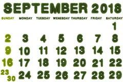 Calendar för September 2018 på vit bakgrund Arkivbilder