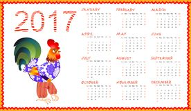 Calendar 2017 with fairy cock isolated on white - chinese symbol of new year. Week starts on sunday. Vector illustration Stock Photography