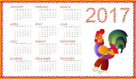 Calendar 2017 with fairy cockerel  on white - chinese symbol of new year. Week starts on sunday. Vector illustration Stock Photo