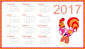 Calendar 2017 with fairy rooster isolated on white - chinese symbol of new year. Week starts on sunday. Vector illustration Royalty Free Stock Photo