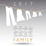 2017 calendar with a family concept. On a gray background Royalty Free Stock Photo