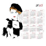 Calendar with fashion girl. 2015 royalty free illustration