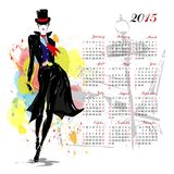 Calendar with fashion girl. 2015 stock illustration