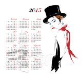 Calendar with fashion girl. Royalty Free Stock Images