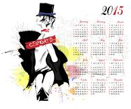 Calendar with fashion girl. Royalty Free Stock Photography