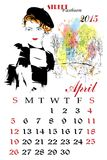 Calendar with fashion girl. Royalty Free Stock Photo