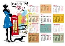 Calendar with fashion girl. Vector illustration stock illustration