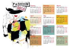 Calendar with fashion girl Royalty Free Stock Photography