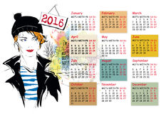 Calendar with fashion girl Stock Photography