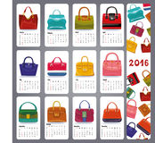 Calendar 2016.Fashion woman handbags. Calendar 2016 new year.Fashion women handbags set.Casual and festive Multicolored icons.Fashion illustration,vector Royalty Free Stock Photography