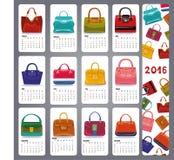 Calendar 2016.Fashion woman handbags Royalty Free Stock Photography