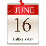 Calendar of fathers day 2013. Vector calendar of fathers day 2013 on white background Stock Image