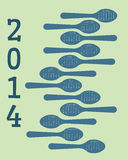 2014 calendar featuring spoons. A retro looking calendar for 2014 with a spoons and kitchen theme Royalty Free Stock Photo