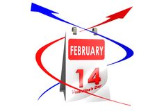 Calendar Feb 14. A render artwork with white background Vector Illustration