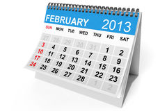 Calendar February 2013. 2013 year calendar. February calendar on a white background Stock Images
