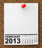 Calendar February 2013. On blank note paper with free space for your text Stock Illustration