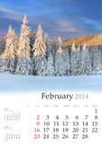 2014 Calendar. February. Beautiful winter landscape in the mountains Stock Image