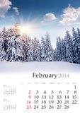 2014 Calendar. February. Beautiful winter landscape in the mountains royalty free stock photo