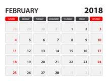 Calendar for February 2018 stock illustration