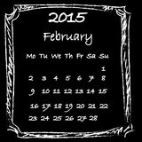 Calendar 2015 February. Calendar 2015 chalk doodles on blackboard Stock Images