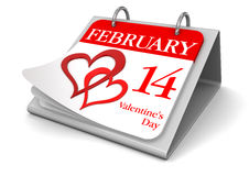 Calendar -  14 february  (clipping path included) Stock Images