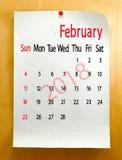 Calendar for February 2018 close-up.  Stock Images