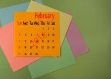 Calendar for February 2018 closeup. Calendar for February 2018 close-up Royalty Free Stock Images