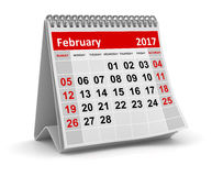 Calendar - February 2017. This is a 3d rendered computer generated image. Isolated on white royalty free illustration