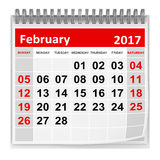 Calendar - February 2017. This is a 3d rendered computer generated image. Isolated on white stock illustration