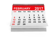 Calendar February 2017. 3d rendering Royalty Free Stock Images