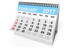 Calendar February 2017. 3d Rendering Stock Images