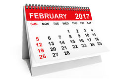 Calendar February 2017. 3d rendering. 2017 year calendar. February calendar on a white background. 3d rendering Royalty Free Stock Photography