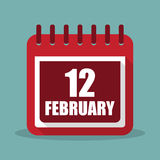 Calendar with 12 february in a flat design. Vector illustration. Calendar  with 12 february in a flat design. Vector illustration Stock Photo