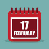 Calendar with 17 february in a flat design. Vector illustration. Calendar  with 17 february in a flat design. Vector illustration Royalty Free Stock Photography