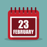 Calendar with 23 february in a flat design. Vector illustration Stock Photos