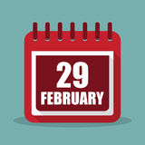 Calendar with 29 february in a flat design. Vector illustration Stock Image