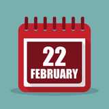 Calendar with 22 february in a flat design. Vector illustration Stock Images