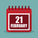 Calendar with 21 february in a flat design. Vector illustration. Calendar  with 21 february in a flat design. Vector illustration Stock Photo