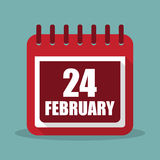 Calendar with 24 february in a flat design. Vector illustration Royalty Free Stock Images