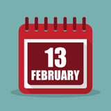 Calendar with 13 february in a flat design. Vector illustration Stock Image