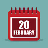 Calendar with 20 february in a flat design. Vector illustration. Calendar  with 20 february in a flat design. Vector illustration Royalty Free Stock Photography