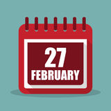 Calendar with 27 february in a flat design. Vector illustration Stock Photography