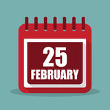 Calendar with 25 february in a flat design. Vector illustration Royalty Free Stock Images