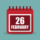 Calendar with 26 february in a flat design. Vector illustration Stock Photos