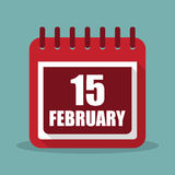 Calendar with 15 february in a flat design. Vector illustration. Calendar  with 15 february in a flat design. Vector illustration Royalty Free Stock Images